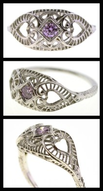 Antique Art Deco pink diamond and white gold filigree ring. Via Diamonds in the Library.