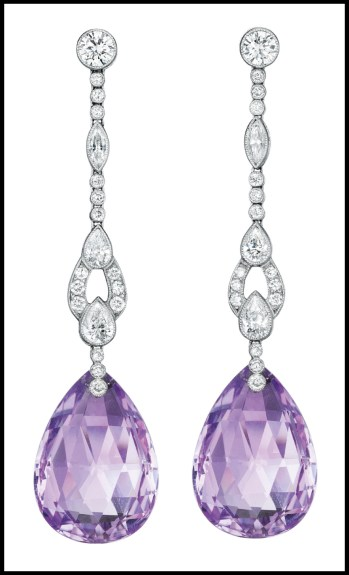 Amethyst and diamond earrings, set in platinum and each suspending a pear-shaped faceted amethyst drop. Via Diamonds in the Library.