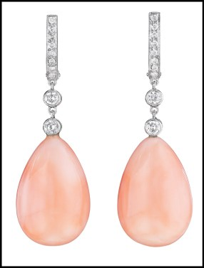 Lovely diamond and pink coral drop earrings. Via Diamonds in the Library.