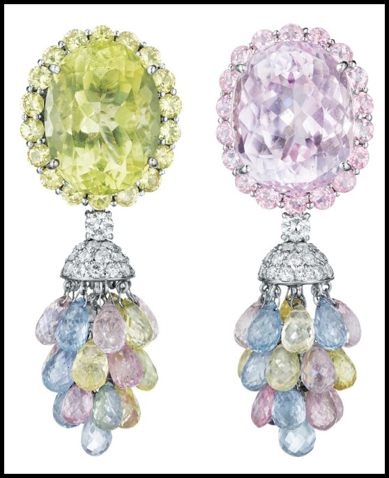 Pastel gemstone earrings featuring kunzite, lemon quartz, diamonds, and colored sapphires. Via Diamonds in the Library.