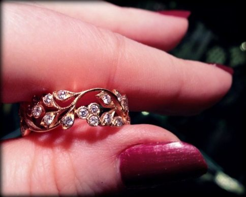 Rose gold and diamond band ring by Beny Sofer. Via Diamonds in the Library.