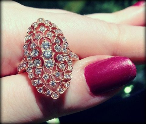 Rose gold and diamond cocktail ring by Beny Sofer. Via Diamonds in the Library.