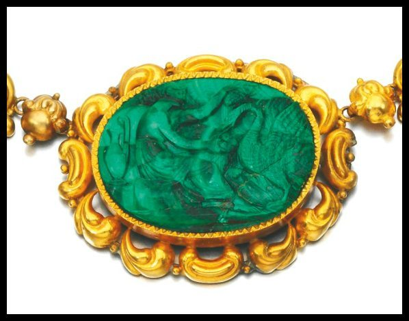 Center detail: Antique gold and malachite cameo parure, circa 1830 and later. Via Diamonds in the Library.