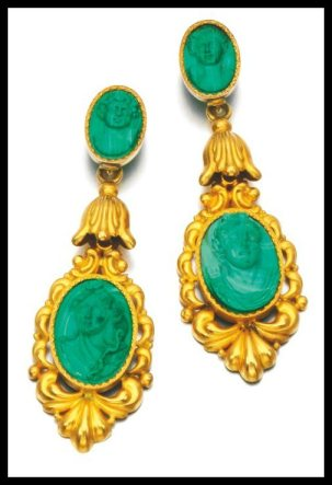 Earring detail: Antique gold and malachite cameo parure, circa 1830 and later. Via Diamonds in the Library.
