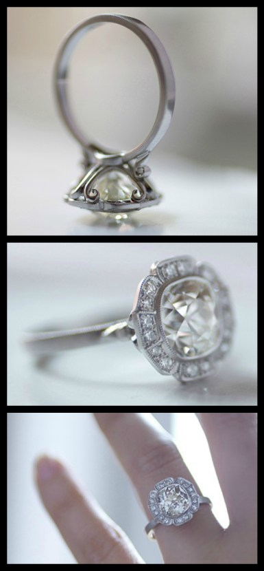 Caroline Halo engagement ring by Erika Winters with a 2.50-carat antique cushion-cut diamond in platinum. Via Diamonds in the Library.