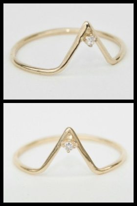 WWAKE gold triangle ring, available in white or black diamond. Via Diamonds in the Library.
