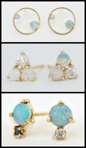 WWAKE gold, opal, and diamond stud earrings. Via Diamonds in the Library.