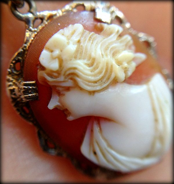 Detail: Antique cameo filigree necklace. Via Diamonds in the Library.