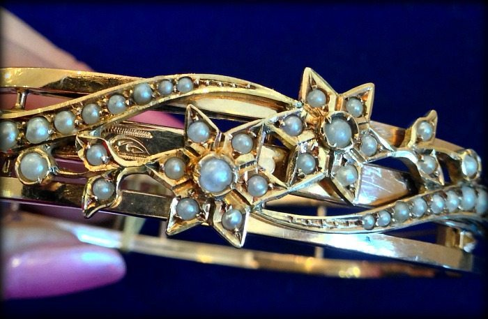 Antique gold and seed pearl bracelet at The Antique Guild. Via Diamonds in the Library.