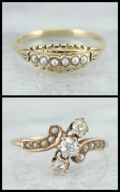 Two antique rings. Top is Art Deco seed pearls in gold, bottom is Victorian rose gold with rose cut diamonds and pearls. Via Diamonds in the Library.