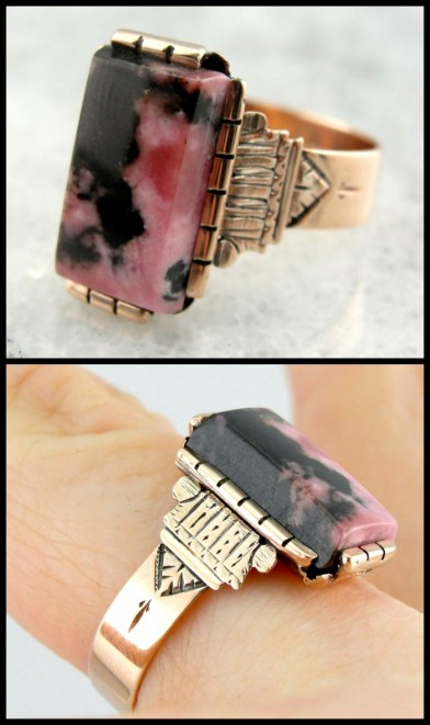 Rhodonite in Victorian rose gold ring setting. Via Diamonds in the Library.