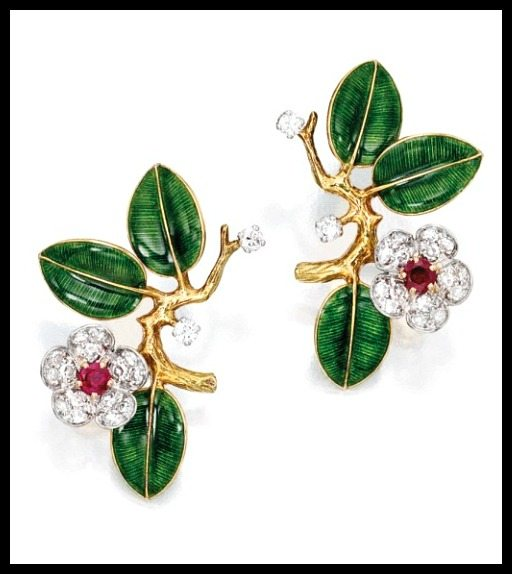 Earrings from gold, diamond, enamel, and ruby dogwood flower suite by Boucheron, Paris. Via Diamonds in the Library.