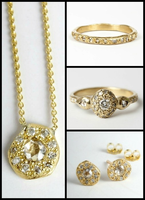 Elisa Solomon diamond and gold Ancienne collection: diamond ring, wedding band, pendant necklace, and diamond stud earrings. At Catbird. Via Diamonds in the Library.