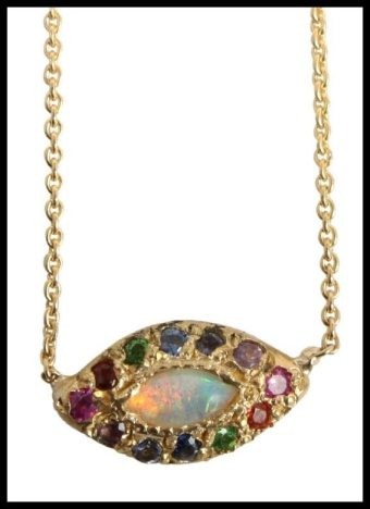 Elisa Solomon opal eye necklace with pink sapphire, garnet, citrine, tsavorite, blue sapphire, emerald, peridot, aquamarine, amethyst and rhodolite. At Catbird. Via Diamonds in the Library.