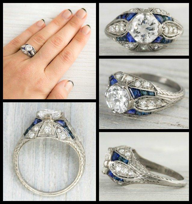 Bulgari Wedding Bands 72 Cute Art Deco sapphire and