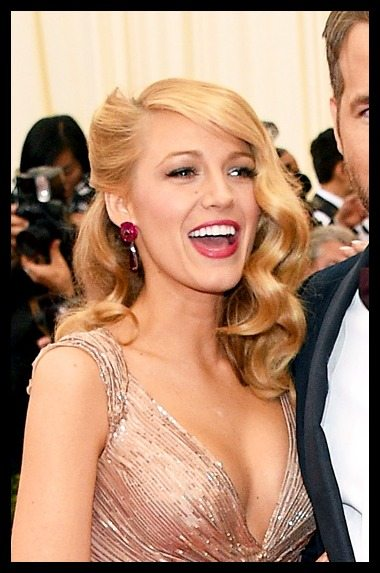 Blake Lively's ruby Lorraine Schwartz earrings at the 2014 Met Gala