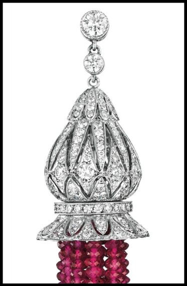 Detail: Diamond and Burmese ruby tassel earrings. Via Diamonds in the Library.