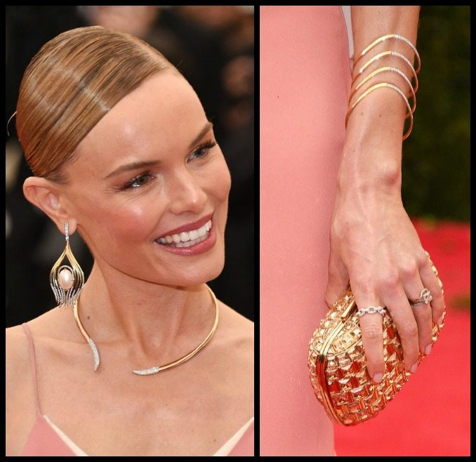 Kate Bosworth in yellow gold, diamonds, and pearls at the 2014 Met Gala.