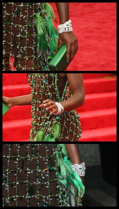 Lupita Nyong'o's Cartier bracelets at the 2014 Met Gala.