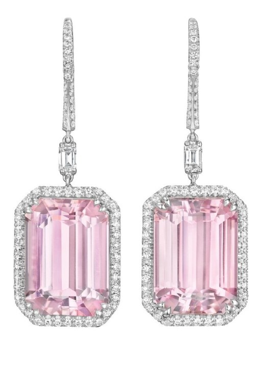 Margherita Burgener kunzite and diamond earrings. Via Diamonds in the Library.
