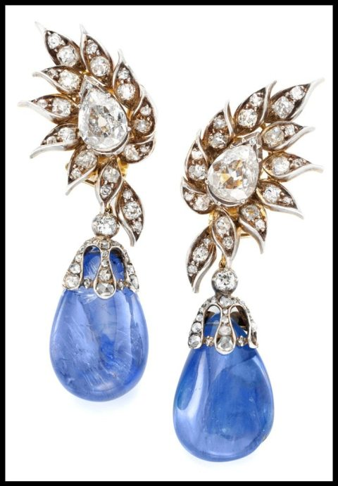 Antique Burmese sapphire and diamond earrings by Chaumet, circa 1880. Via Diamonds in the Library.
