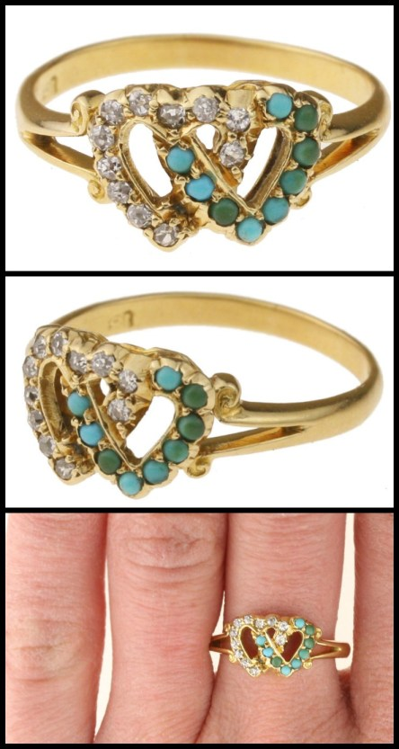 Antique Victorian turquoise and diamond twin heart ring.