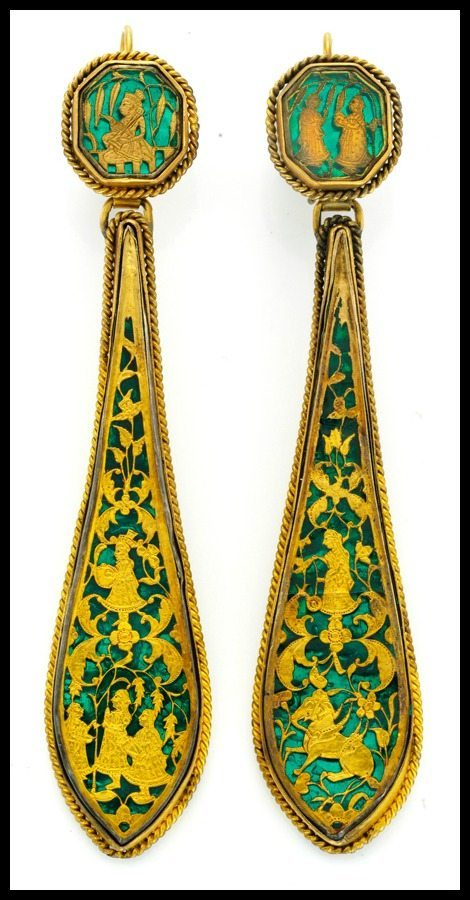 "Indian ""Pratapgarh"" gold and glass earrings, circa 1860. Via Diamonds in the Library."