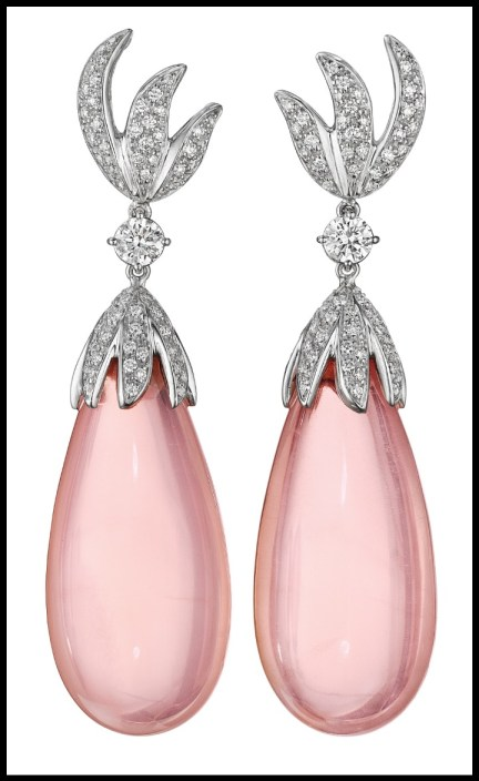 Margherita Burgener pink quartz and diamond earrings. Via Diamonds in the Library.