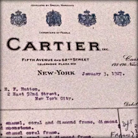 Marjorie Merriweather Post's Cartier invoice from 1927.