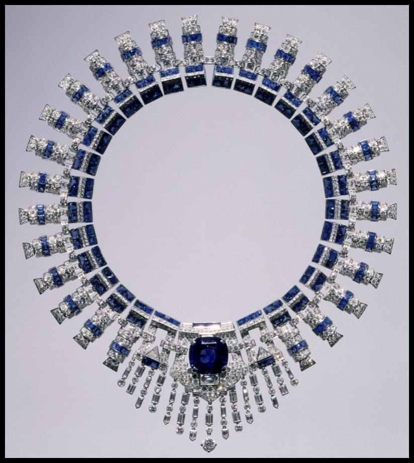 Marjorie Merriweather Post's Cartier sapphire and diamond necklace. The necklace is made from two bracelets joined by a custom-made Cartier brooch. Circa 1936.