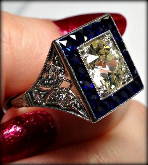 Antique Art Deco sapphire and diamond butterfly detail engagement ring at Chas Schwartz & Son.