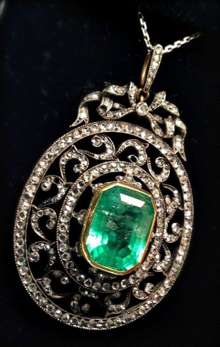 Antique emerald and diamond pendant at Chas Schwartz & Son. Via Diamonds in the Library.