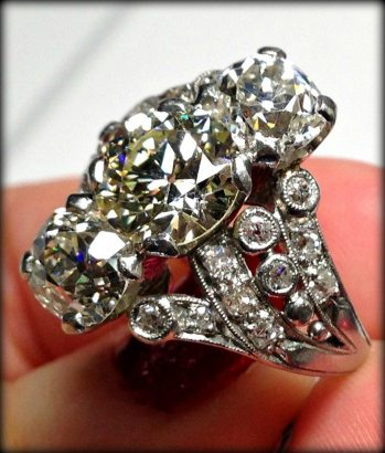 Antique three stone diamond engagement ring at Chas Schwartz & Son.