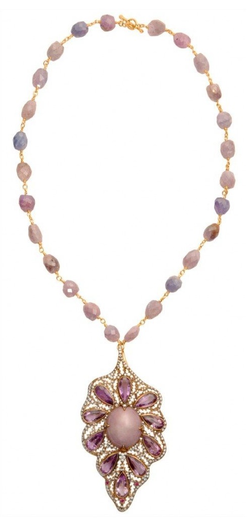 Cathy Waterman pink star sapphire and amethyst leaf necklace in 22k gold. Via Diamonds in the Library.