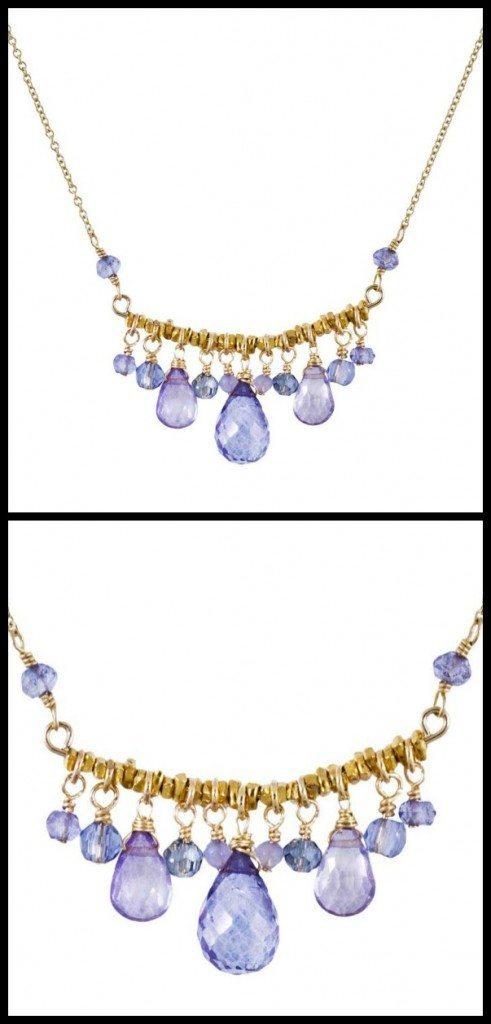 Dana Kellin Starlight Fringe necklace with pale blue and lavender quartz.
