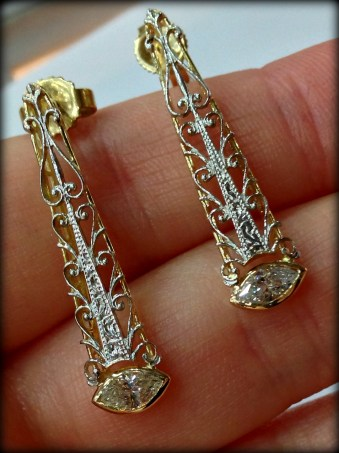 Gold and diamond earrings converted from an antique bar pin.
