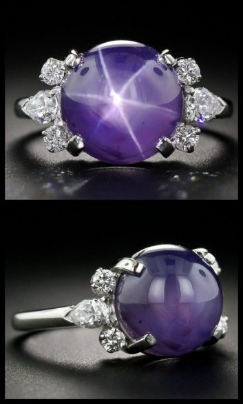 J.E. Caldwell 11 carat star sapphire platinum and diamond ring at Lang Antiques.