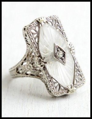 Antique Art Deco camphor glass and filigree ring