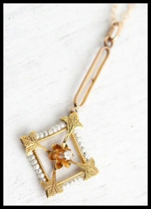 Antique gold, seed pearl, and diamond lavalier necklace at Maejean Vintage