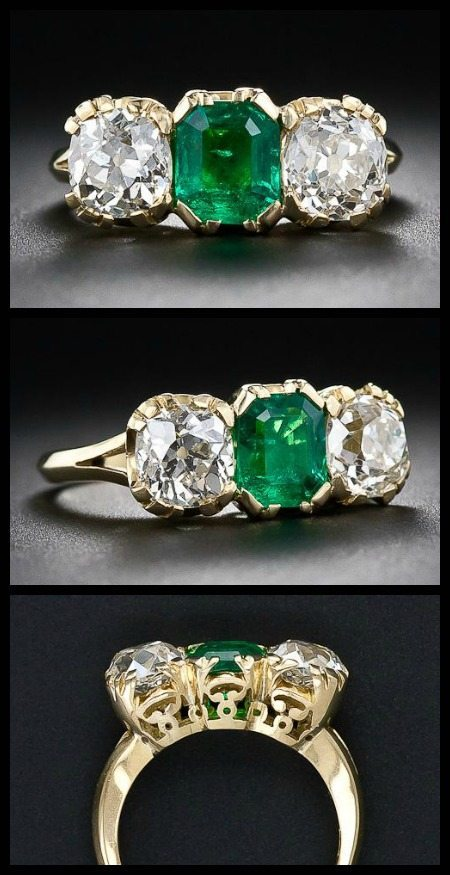 Antique-style three stone emerald and diamond ring at Lang Antiques.