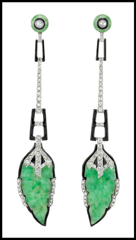 Art Deco jade, enamel, and diamond earrings.