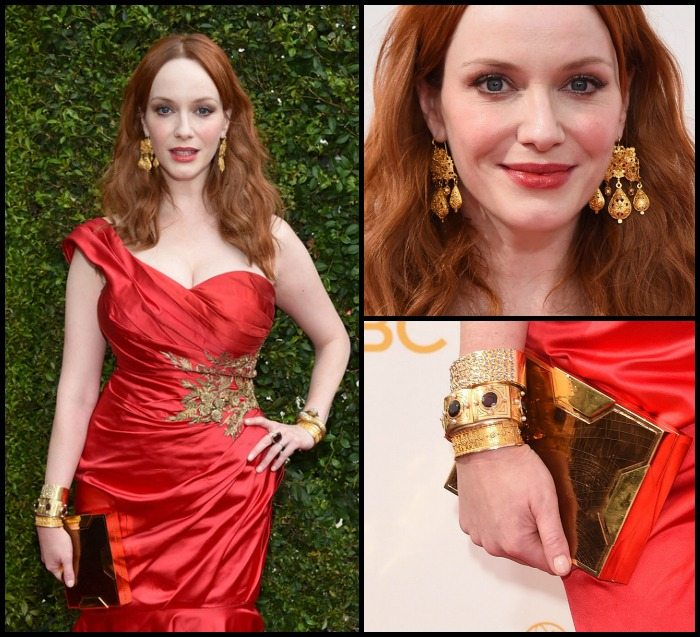 Christina Hendricks with golden Neil Lane jewels at the 2014 Emmy Awards.