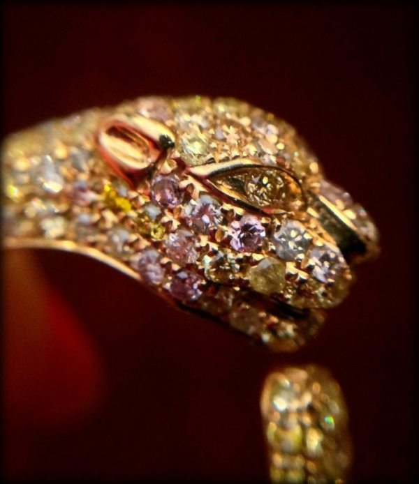 Detail of MK Diamonds' colored diamond and gold ring photographed by Diamonds in the Library.