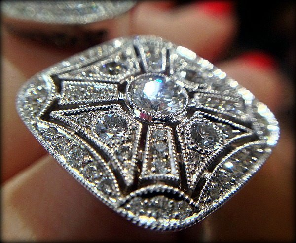 Detail of a diamond cocktail ring by Ziva