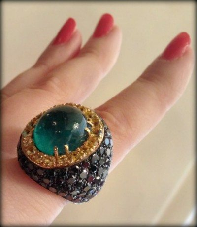 Emerald cabochon ring by Andreoli