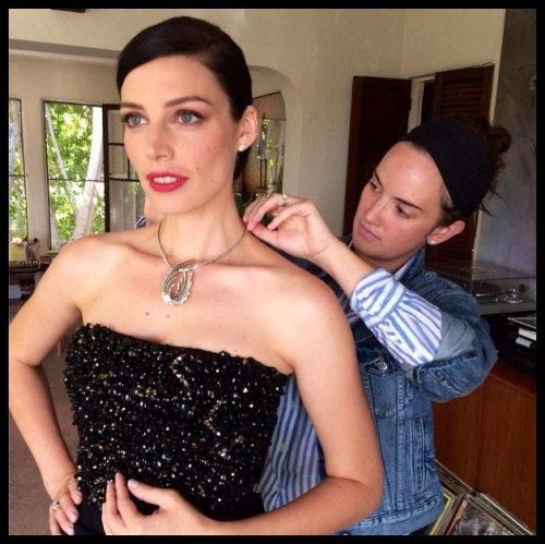 Jessica Pare in Fred Leighton diamonds and platinum at the 2014 Emmy Awards.