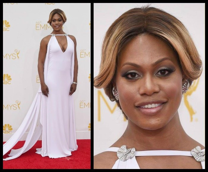 Laverne Cox in Fred Leighton retro diamond jewels at the 2014 Emmy awards
