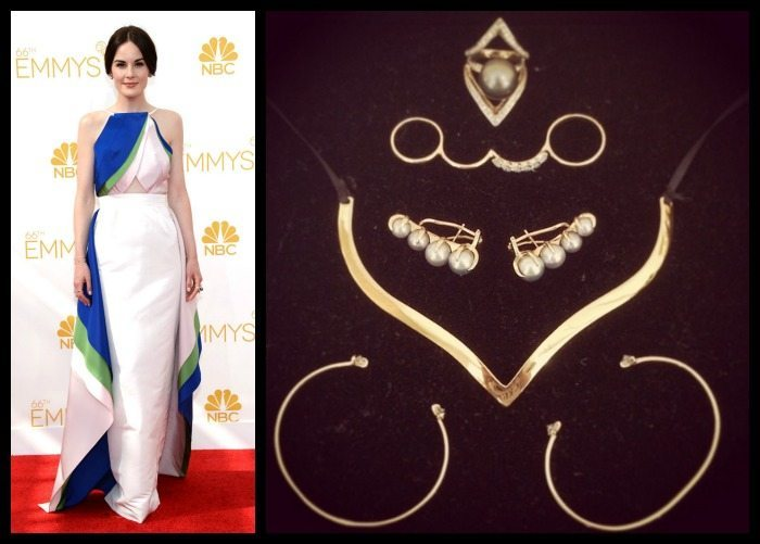 Michelle Dockery at the 2014 Emmys in gold Ana Khouri jewelry.