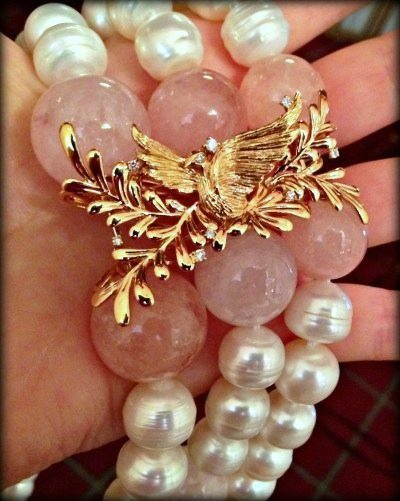 Morganite and pearl Love Doves necklace with gold and diamond dove clasp. By Loretta Castoro.