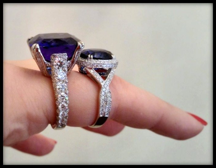 Omi Prive sapphire and tanzanite rings with diamond accents.